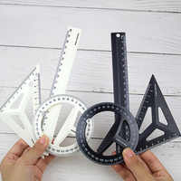 Plastic Three-dimensional Technical Black/White Drawing Ruler Set Students Maths Geometry Triangle Ruler Office School Supplies