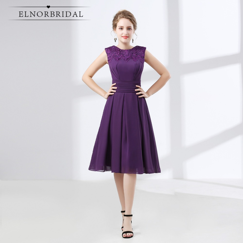 Purple Chiffon Tea Length Dress