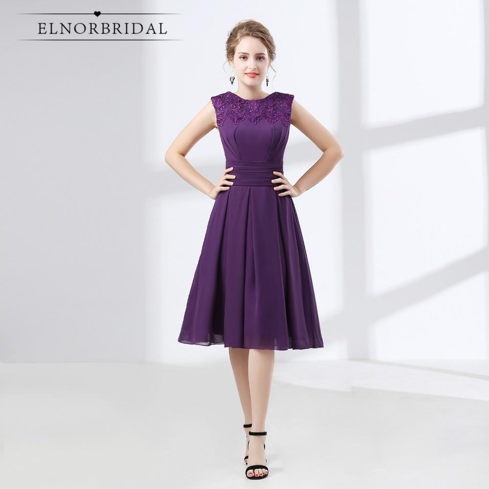 Purple   Bridesmaid     Dresses   Tea Length 2018 Robe Demoiselle D'Honneur Lace Chiffon Maid OF Honor Gowns