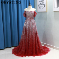 Sparkling Sequin Wine Red Long Prom Dresses 2018 Cap Sleeves Off Shoulder Burgundy Formal Dress Saudi