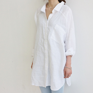 Image 4 - Blouse Womens White Blouses Shirt Spring Summer Blusas Office Lady Elegant Loose Tops and Blouses Casual Linen Women