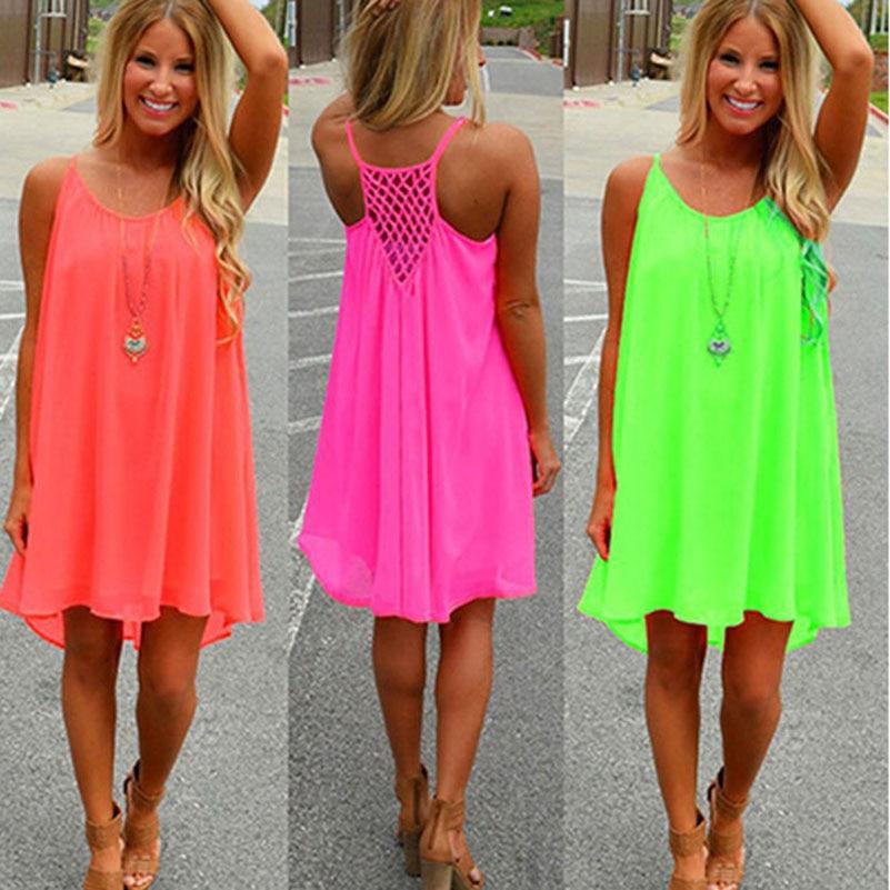 Chiffon Mini Beach Dress 2017 Solid Slim Hollow Out Summer Dress Sexy Loose Sleeveless Sundresses Plus Size Tunic Vestidos **