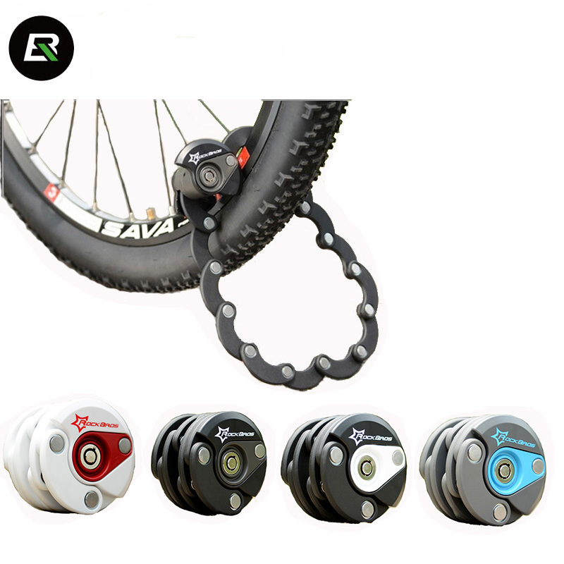 Rockbros cadenas de vélo Anti-vol câble de chaîne Vélo Serrure Mini Pliable Sécurité En Acier Vélo Pliant Accessoires Serrure De Vélo