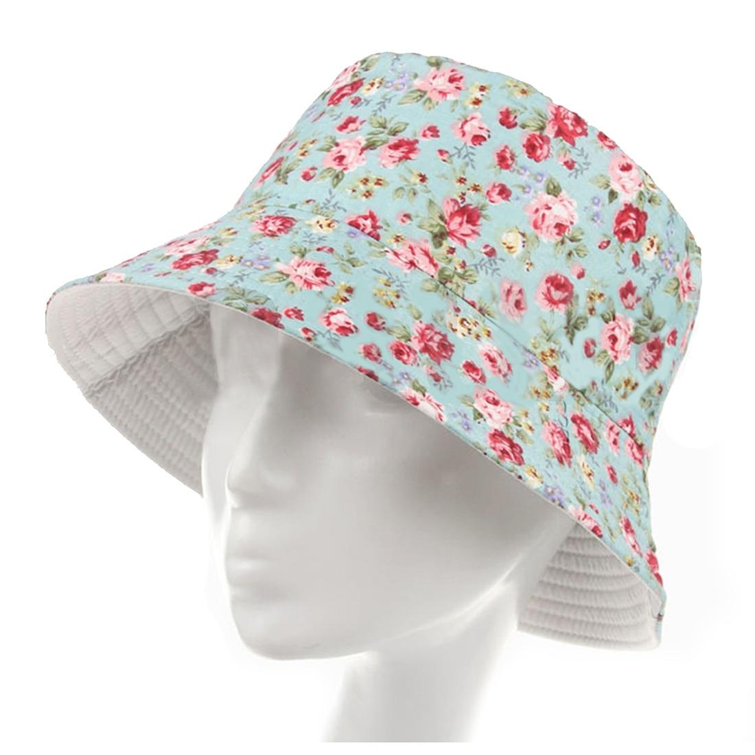 236c8ec63df Women Men Bucket Hat Boonie Hat Hunting Fishing Outdoor Cap Floral Summer  Sun Hats Blue