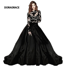 Gorgeous High Neck Applique Lace Black Evening Dresses Long Sleeves Evening Gowns robe de soiree DGE003 burgundy lace details crew neck long sleeves high waisted dresses