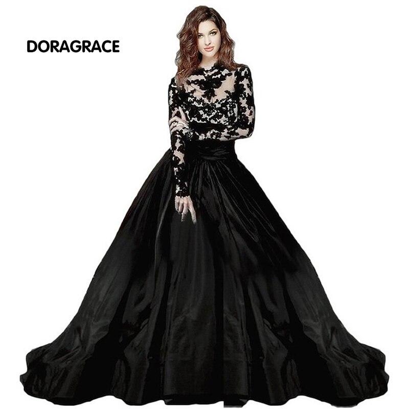 Gorgeous High Neck Applique Lace Black   Evening     Dresses   Long Sleeves   Evening   Gowns robe de soiree DGE003