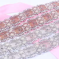 5 Yards Rhinestones Appliques Trim Iron On Wedding Belt Sewing Rose Gold Crystal Rhinestones Appliques For