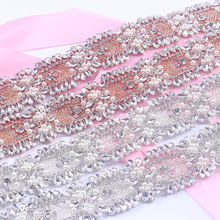 5 Yards Rhinestones Appliques  trim iron on Wedding Belt Sewing Rose Gold Crystal Rhinestones Appliques for Bridal Accessory L60