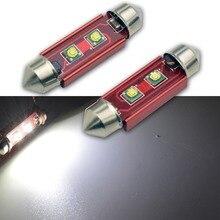 2Pcs AC12V 10W LED Bulb Light C5W Error Free 36mm 39mm 41mm Festoon C10W SMD Auto