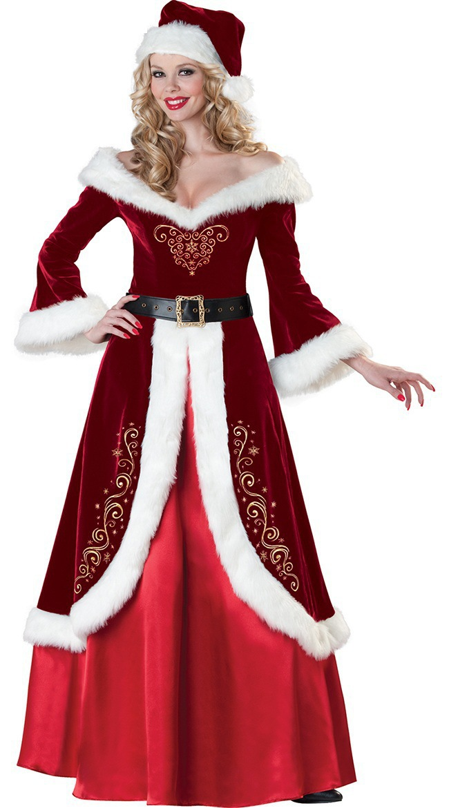 New Year Cosplay Party Velvet Long Sleeve Robe Santa Claus Costumes for Adult, Women Luxury Christmas Princess Queen Long Dress