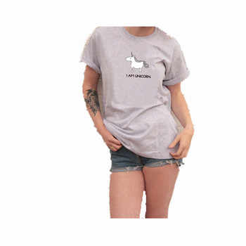2017 New Summer Autumn Funny T Shirts Women Style Plus Size 3XL Loose Short Sleeve Female T-shirt Cute Unicorn Print Top Tees