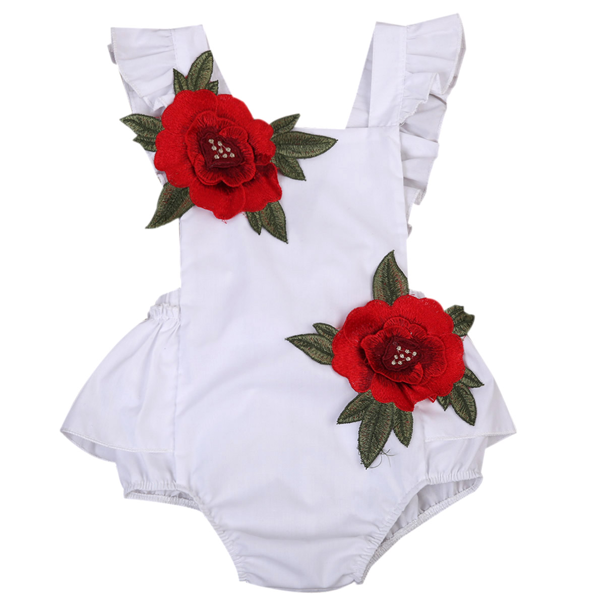 Fashion 2018 Baby Girls Newborn 3D Rose Sweet Bowknot Romper Sunsuit Outfits Clothes