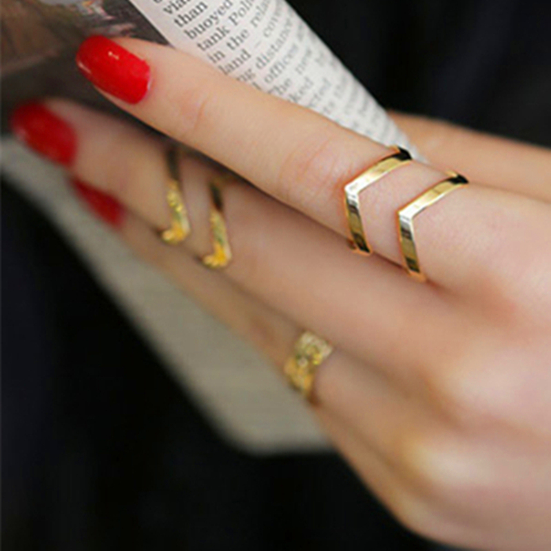 Chevron-Rings Jewelry Geometric Boho Double-Lines Femme Women's Gift Simple for Bague