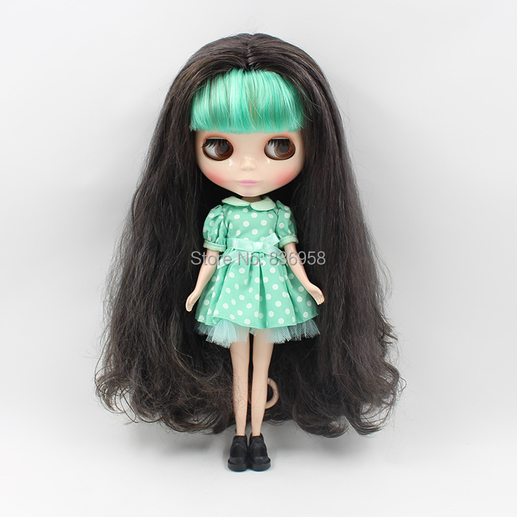 Mint Bangs With Black Long Hair Nude Blyth doll Suitable For DIY Change BJD Toy For Girls 4268/950 purple curly long hair with bangs normal body nude doll suitable for change diy 280bl732 117