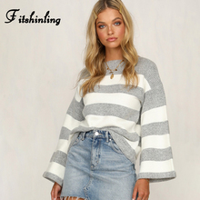 Fitshinling Flare Sleeve Autumn Winter Pullovers Knitted Sweaters For Women Grey Casual Jumper Knitwear Striped Ladies Sweater flare sleeve striped sweater