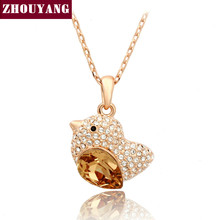 ZHOUYANG Top Quality ZYN053 Orange Fat Bird Necklace Rose Gold Color Fashion Jewellery Nickel Free Pendant Crystal(China)