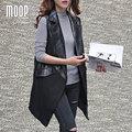 Черный кожаный жилет из овчины кожа сращены кожаное пальто женщины плащ chalecos mujer весте роковой colete gilet LT864