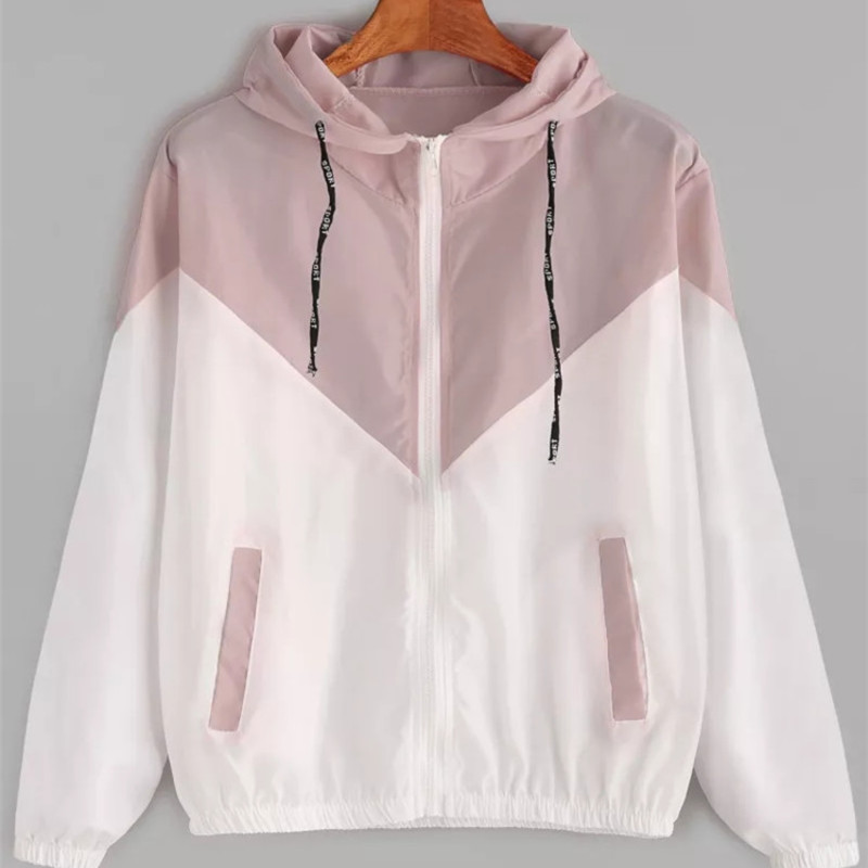 Fashion 2020 Autumn Quick Dry Women's Jackets Coats Windbreaker Sun Protection Patchwork Color Zipper Thin Summer Women Clothing