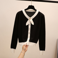 2019 spring new women sweaters white and black knitted slim thin bow pearl lady cardigans female solid short outwear coat tops