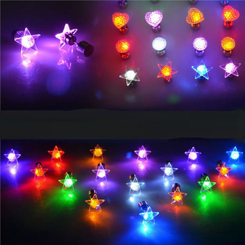 Hot Cool Fashion Unique Star Heart Design LED Earrings Light Up Bling Ear Studs Dance Party New Year Accessories Women Men