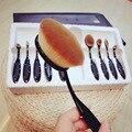 10 unids Oval Profesional Fundación Brush Powder Brush Cepillo Cosméticos Maquillaje Cepillo Conjunto Kit de Accesorios Maquiagem (Negro)