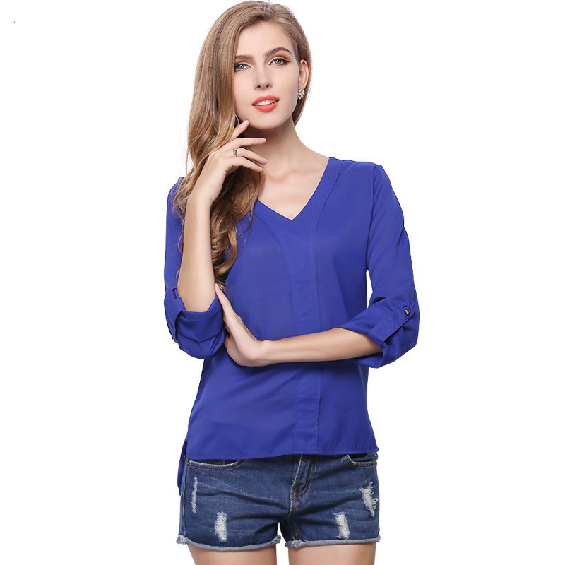 Women's Blue Large Size Beaded Epaulette V-neck Long-sleeved Office Lady Chiffon Shirt Loose Bottoming Shirt