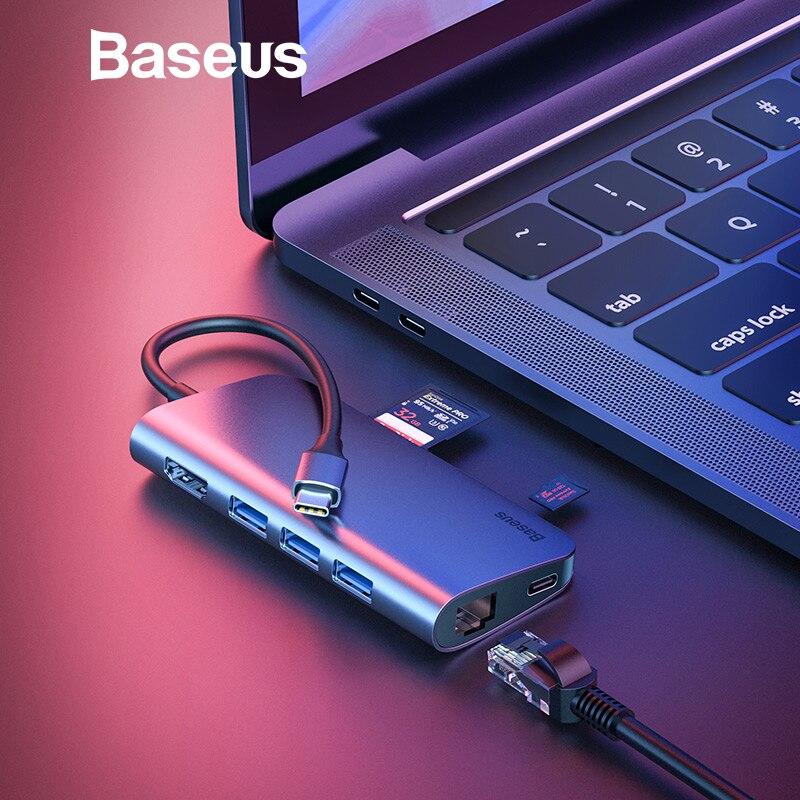 Baseus 8 dans 1 USB HUB USB C adaptateur de moyeu à HDMI RJ45 convertisseur pour macbook Pro Type C HUB pour Huawei P20 Compagnon 10 20 Pro 3.0 HUB