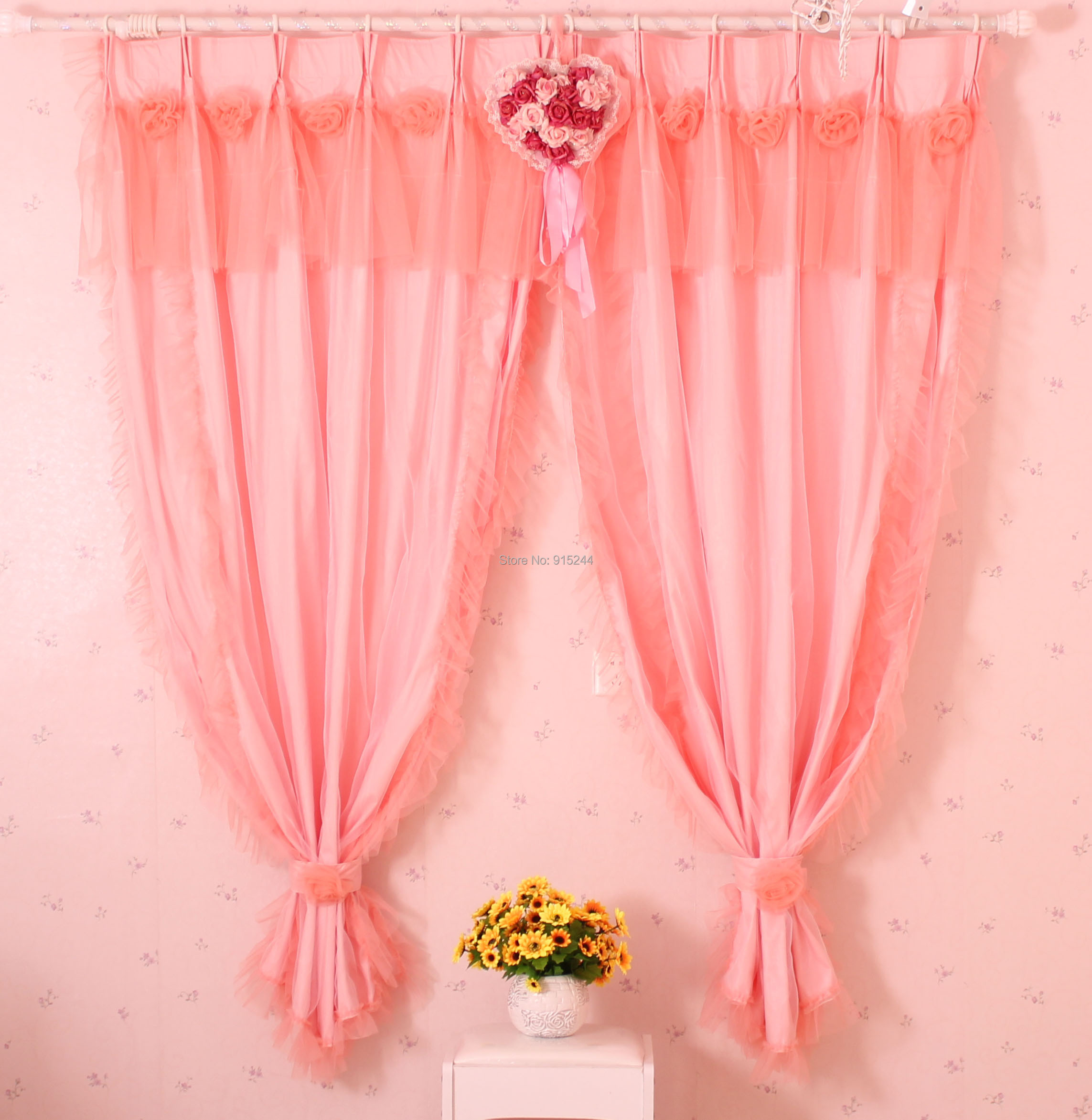 princesa cortina rstica blanco rosa rojo pruple azul de rose del cordn de algodn textiles para