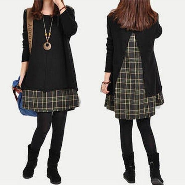 2019 Plaid Patchwork Women Dresses Casual Loose Korean Style Dress Long Sleeve Ladies Fashion Mini Dress Vintage Autumn Vestidos