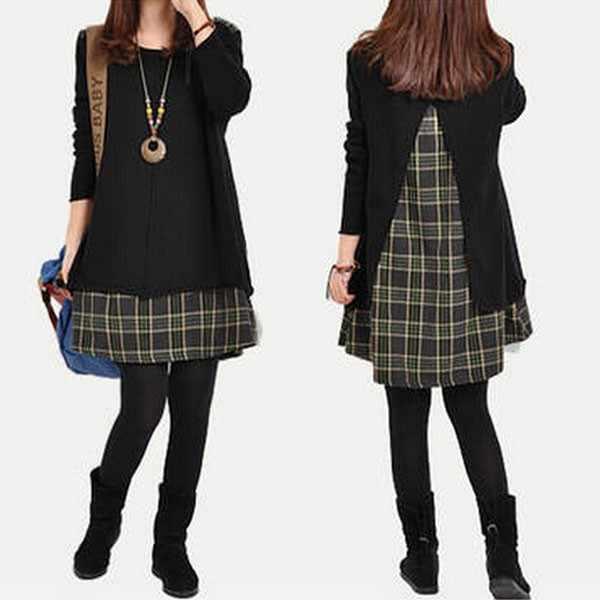 2019 клетчатое лоскутное женское свободное платье корейское стильное платье с длинным рукавом дамское модное мини-платье винтажное осеннее платье