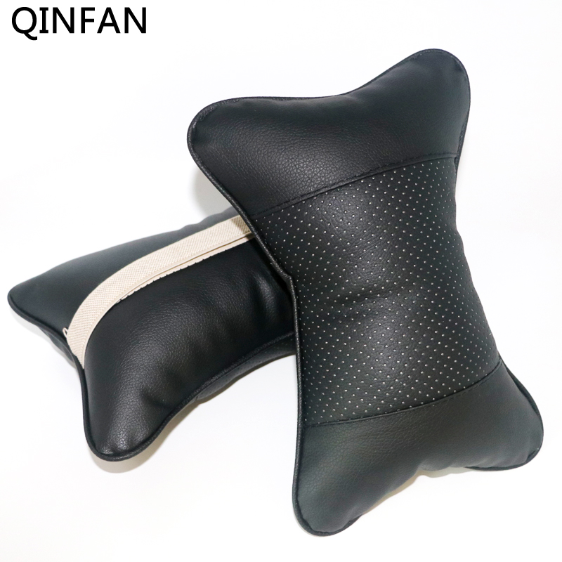 2pcs Car Neck <font><b>Pillow</b></font> Perforating Design Double-sided PU Leather Hole-digging Car Headrest <font><b>pillow</b></font> Auto Safety Accessories