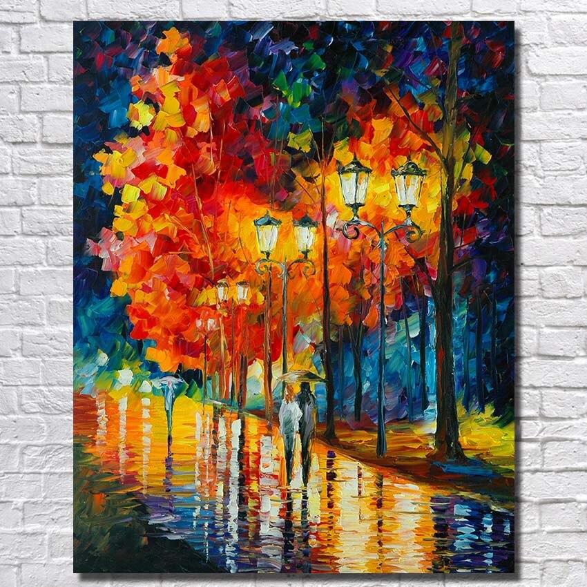 dded1b1724425 يدوية الديكور للمنازل جدار ديكور النفط قماش لوحات كبيرة الشارع مشهد الفن  قماش امتدت