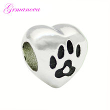 Dog footprints heart-shaped love mom charm beads handmade DIY jewelry accessories amulet Fit Pandora Bracelet Necklace(China)
