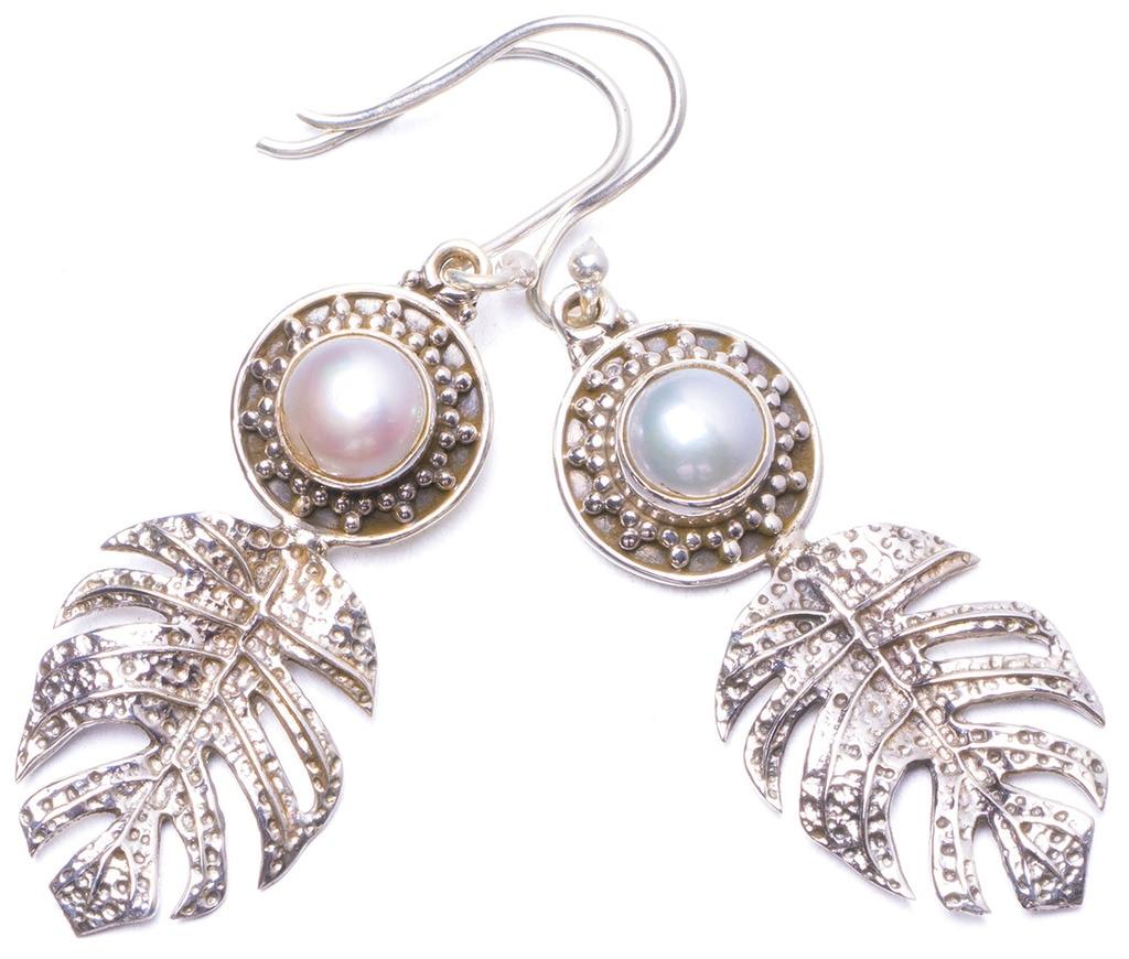 StarGems(tm) Natural River Pearl Handmade Unique 925 Sterling Silver Earrings 2 Y1197