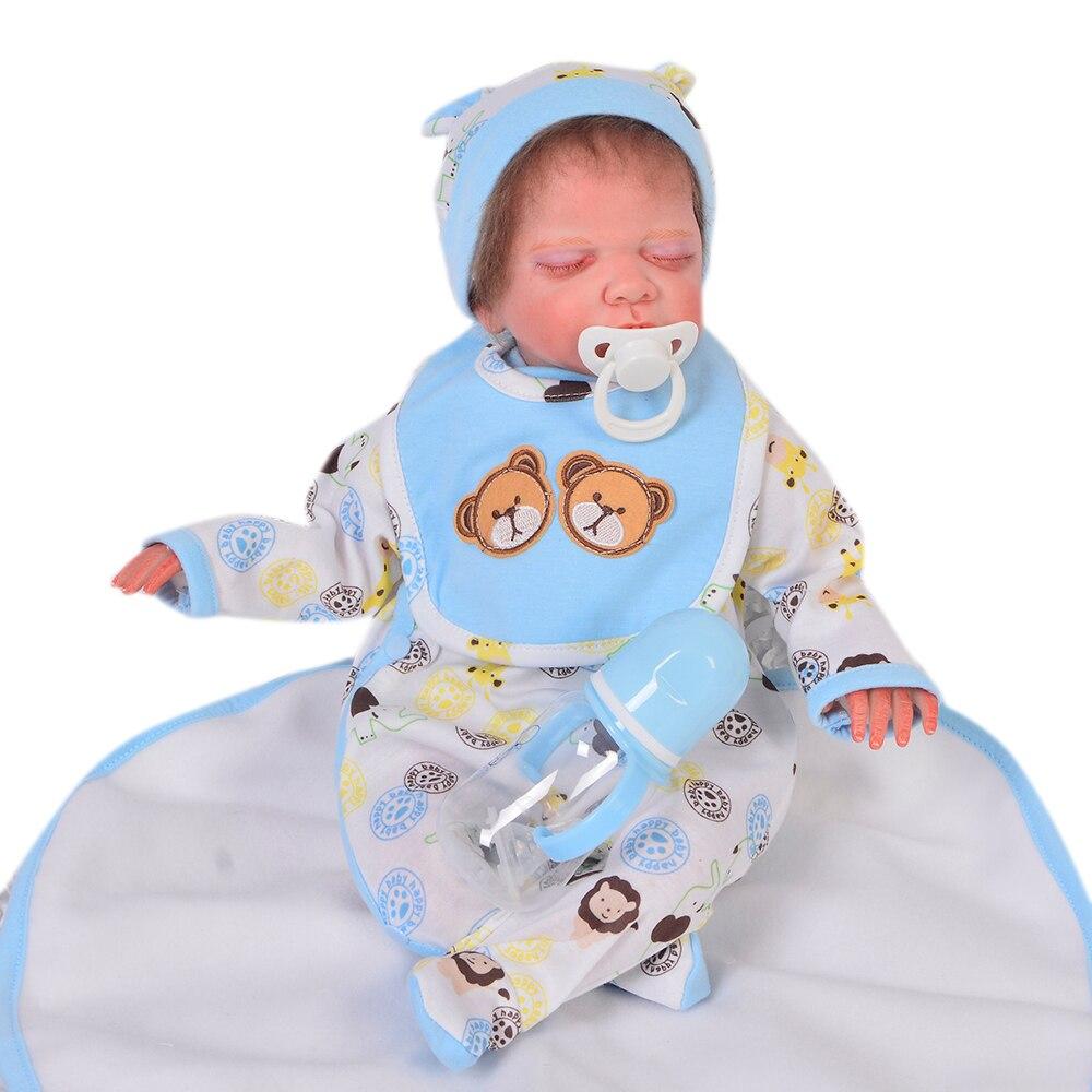 Handmade 20 Inch Reborn Baby Dolls Close Eyes Soft Silicone Lifelike Babies Doll For Boy Kids DIY Toy Touch Real Birthday Gifts недорго, оригинальная цена