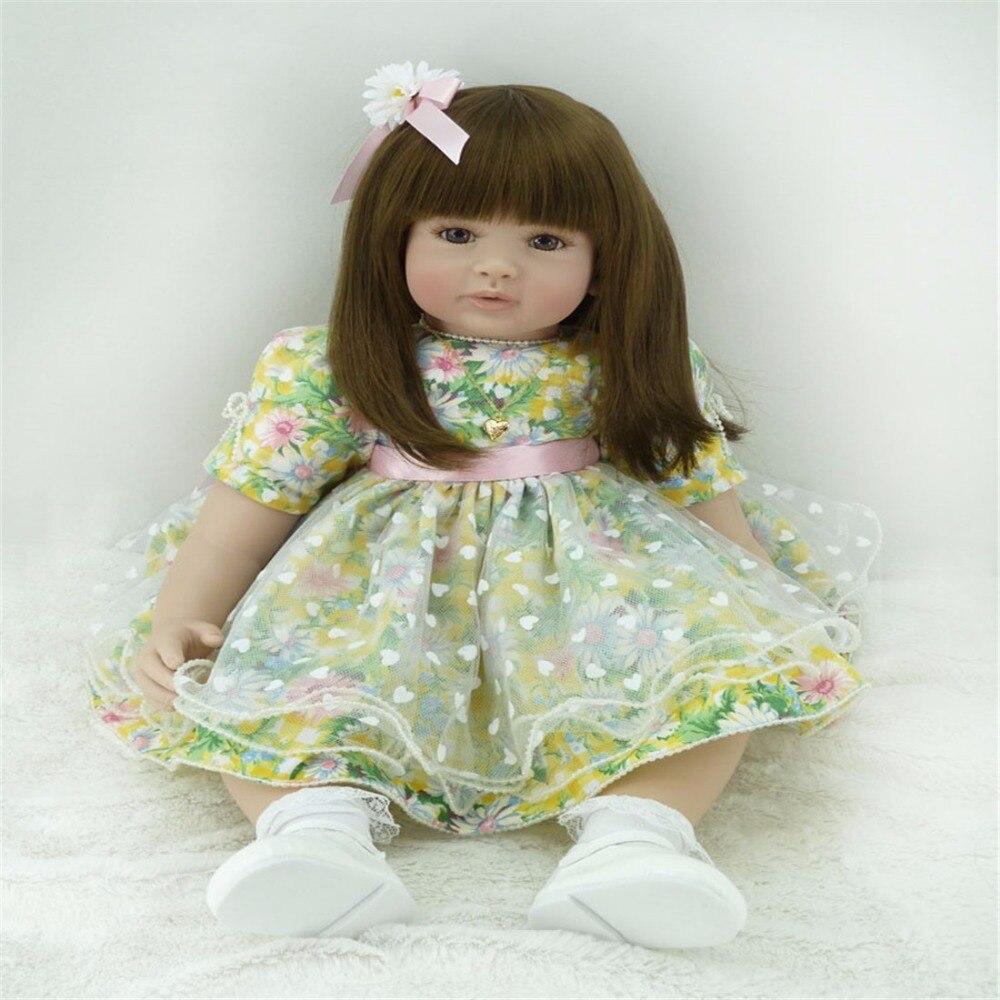 22 inch 55 cm Silicone baby reborn dolls, lifelike doll reborn babies toys Beautiful flower skirt fashion girl