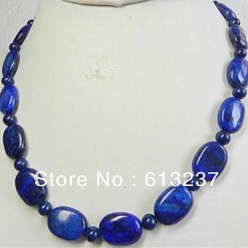 Fashion natural stone 13x18mm lovely oval Lapis Lazuli stones Beads Chain Necklace For Women Party Wedding Jewelry 18inch MY5179 fashion natural stone 13x18mm lovely oval lapis lazuli stones beads chain necklace for women party wedding jewelry 18inch my5179