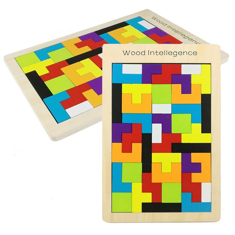 Træ puslespil legetøj Tangram Jigsaw Teglsten Toy Julegave til barn Wooden Tetris Brick Toy Uddannelsespil Toy