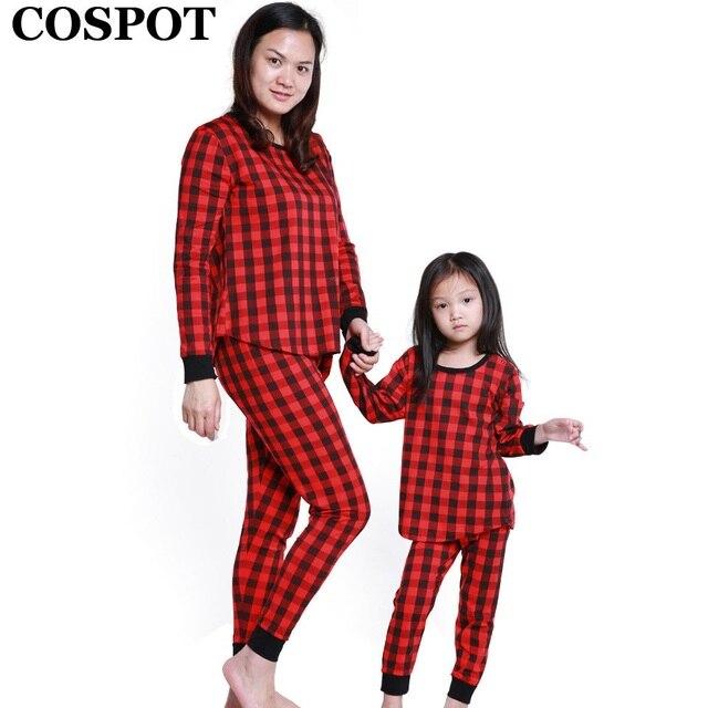 1b516741c4e20e R$ 37.38 20% de desconto COSPOT 2019 Mom & Filha Pijamas Set Inverno  Primavera Xadrez Vermelho Roupas Mãe Dos Namorados & Kids Nightwear  Sleepwear ...