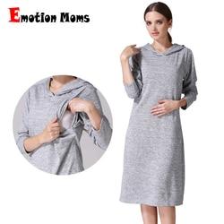 Emotion Moms manga larga embarazo ropa de maternidad ropa de lactancia vestidos para mujeres embarazadas vestido de maternidad