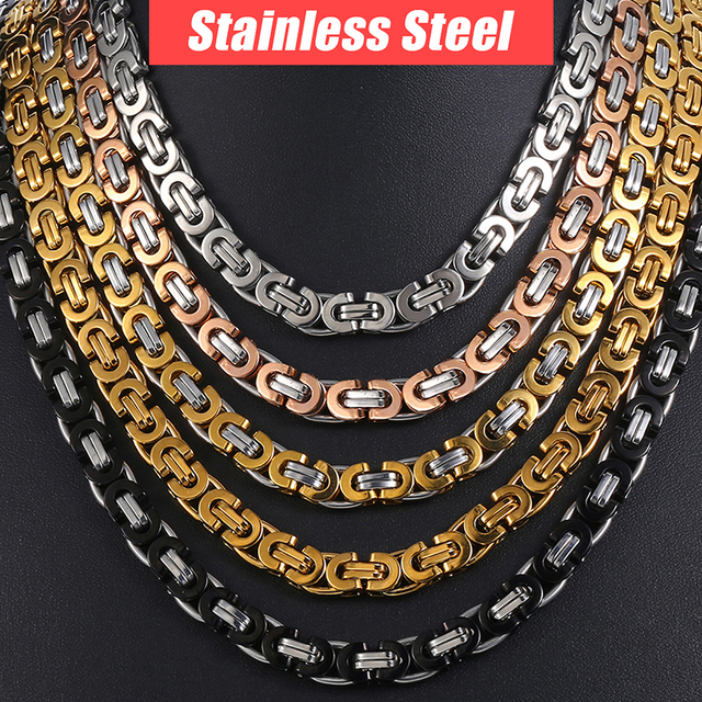 Chain Necklace for Men Stainless Steel Gold Silver Black Byzantine Link Mens Nec