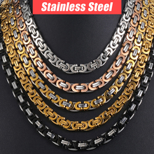 Chain Necklace for Men Stainless Steel Gold Silver Black Byzantine Link Mens Necklaces Chains Davieslee Fashion Jewelry DLKNM27