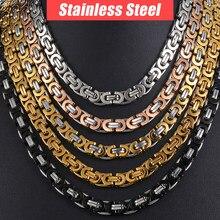 b693c76a6d22 Collar de cadena para los hombres de acero inoxidable oro plata negro bizantino  enlace hombre collares cadenas Davieslee joyería.