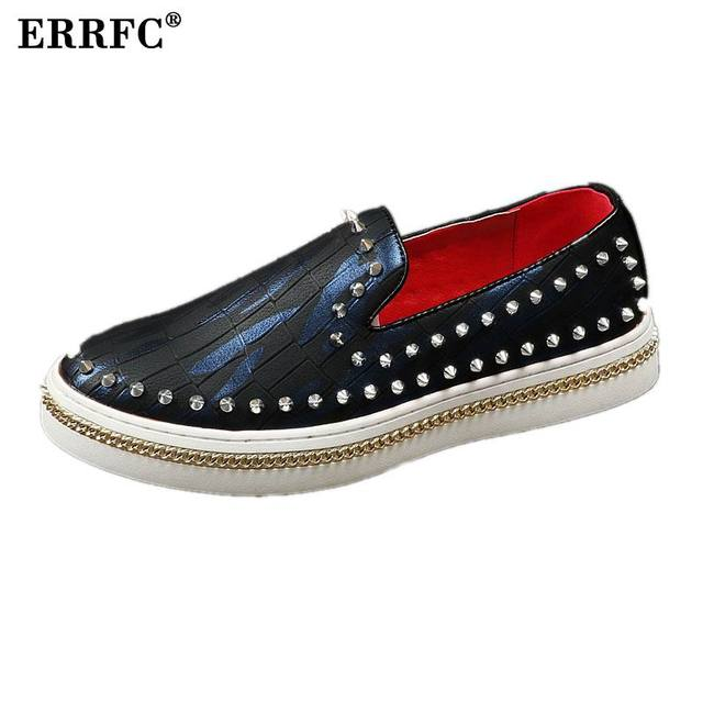 ERRFC Designer Luxury Mens Casual Shoes Fashion Rivet Thick Bottom Loafer Shoes Tide Slip On Flat Graffiti 3Colors 38-44 Red