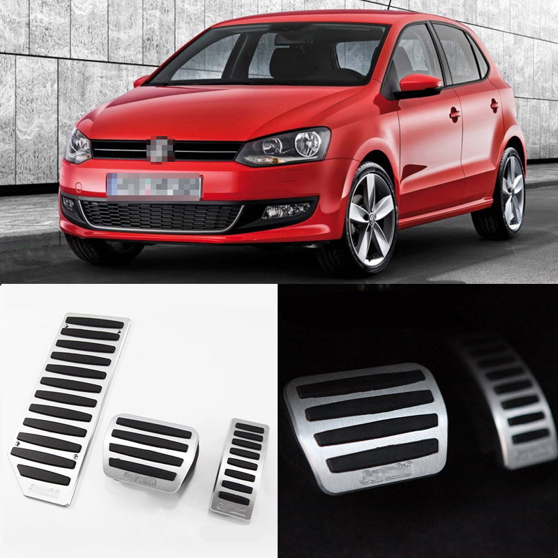 Brand New 3pcs Aluminium Non Slip Foot Rest Fuel Gas Brake Pedal Cover For VW POLO AT 2010-2016 brand new 3pcs aluminium non slip foot rest fuel gas brake pedal cover for peugeot 508 at 2011 2016