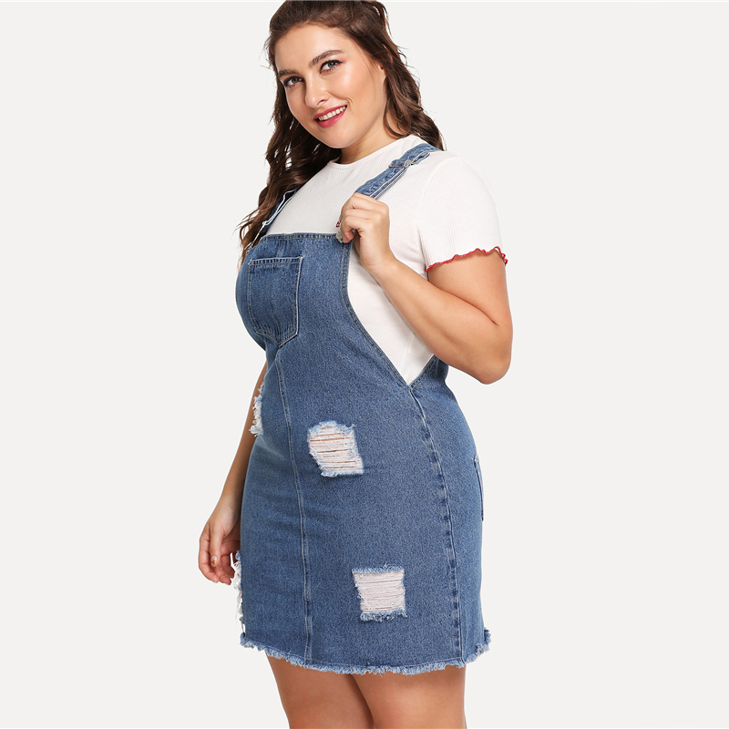 2018 Straps Sleeveless Ripped Casual Denim Overall Dress (Plus Size ...
