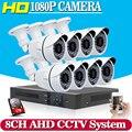 8CH 1080 P AHD Sistema de CCTV DVR 8 PCS Câmeras de CCTV 2.0 Megapixels Reforçada IR Sistema de Câmera de Segurança com 1 TB HDD