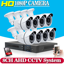 8CH 1080P AHD CCTV DVR System 8PCS CCTV Cameras 2.0 Megapixels Enhanced IR Security Camera System with 1TB HDD