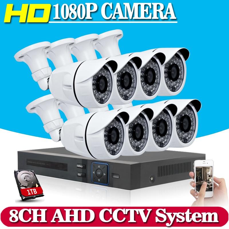 NINIVISION 8CH 1080P AHD CCTV DVR System 8PCS CCTV Cameras 2.0 Megapixels Enhanced IR Security Camera System with 1TB HDD