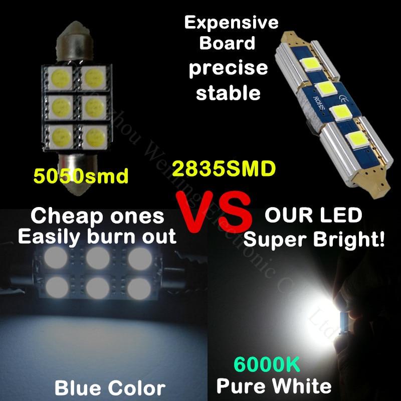 WLJH 2x Canbus Car LED-lampor 31mm 36mm 39mm 41mm 2835SMD DE3175 C5W - Bilbelysning - Foto 3